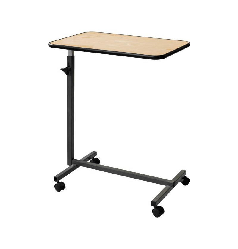 Multi-Purpose Portable Medical Wood Color Overbed Tables with Wheels